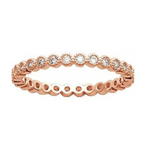 So chic gioielli - anello donna fede nuziale eternité ossido di zirconio bianco placcato oro rosa - misura 18