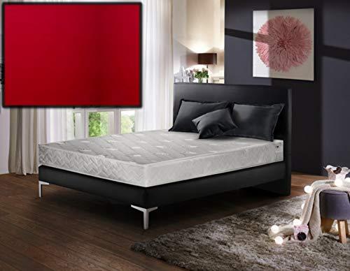 Winkle Boxspringbett BRONX mit Bettkasten 140x200 l Kunstleder 9066 Rot