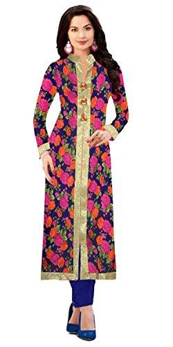 Rensila Women's Banglori Silk Printed Semi-stitched Kurti (STRee1054_Blue and Pink_Free Size)