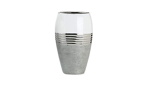Dreamlight Moderne Deko Vase Blumenvase Oval aus Keramik wei/ß//Silber 24x14 cm