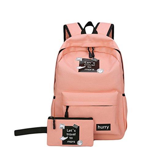 Xinwcang 2 Set Schulrucksack Damen Herren Freizeit Rucksack Handtasche Daypacks Backpack Laptop Schule Tasche für Jungen Mädchen Pink1