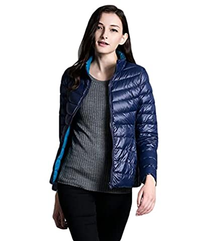 YOUJIA Womens Reversible Down Coat Lady Duck Down Ultralight Hooded Puffer Jacket Outdoor Packable (Navy Blue,
