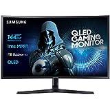 Samsung Monitor C32HG70 Monitor da Gaming Curvo VA da 32'' WQHD, QLED, 2560 x 1440, HDR, 144Hz, 1ms, 1 Display Port, 2 HDMI, 16,7M di colori, sRGB 125%, FreeSync, Regolabile in altezza, Pivot, Nero