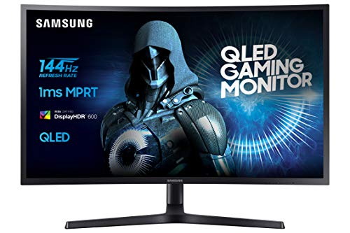 Samsung Monitor C32HG70 Monitor da Gaming Curvo VA da 32'' WQHD, QLED, 2560 x 1440, HDR, 144Hz, 1ms, 1 Display Port, 2 HDMI, 16,7M di colori, sRGB 125%, FreeSync, Regolabile in altezza, Pivot, Nero