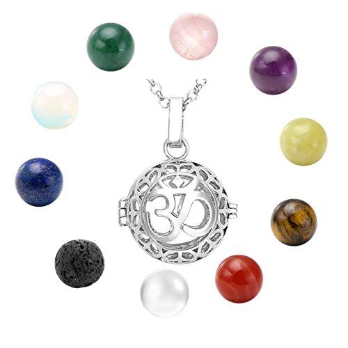 QGEM Damen Halskette Collier hohl Käfig Locket Anhänger 10 Chakra Healing Steinkugeln mit 71cm Kette schmuck set(OM symbol Design)