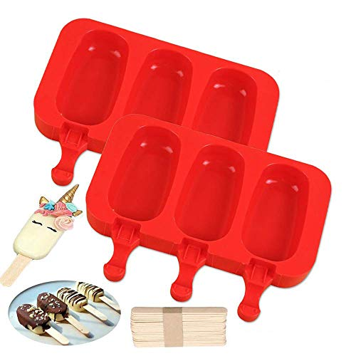 LARRY SHELL 2 STÜCKE Popsicle Molds Food Grade Silikon Gefrorenes Eismaschine mit Deckel Wiederverwendbare Mini Nette DIY 3 Hohlräume Ice Pop Mold mit 100 Holzstäbchen- für Kinder -