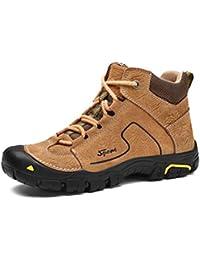 Zapatos de Senderismo de Invierno al Aire Libre de los Hombres de Gran  tamaño Cabeza Redonda de Cuero más Zapatos de Terciopelo… 653b125ffc20a