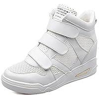 Pelle scarpe da ginnastica alte calza il pannello in mesh traspirante/ All'interno scarpe da ginnastica velcro aumentato