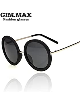 XRQ-Telaio grande occhiali da sole Occhiali da sole retrò round black mirror,nero