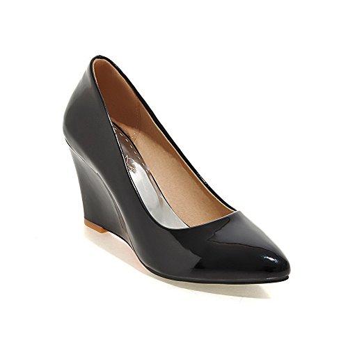 VogueZone009 Femme Tire à Talon Haut Pu Cuir Couleur Unie Pointu Fermeture D'Orteil Chaussures Légeres Noir