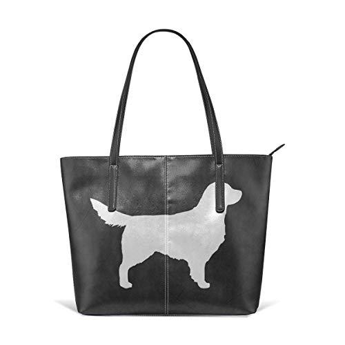 Cocoal-ltd White Golden Retriever Silhouette Ledertasche Große Geldbörse Schultertasche tragbare Aufbewahrung Handtaschen Praktische Shopper -