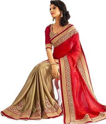 Kjp Villa Women\'s Georgette Red Free Size embroidery Saree With Blouse Pics (zeel saree-229)