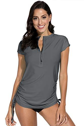 ash Guard UV Shirts Half Zip Shirt Schwimmen Badeshirts UPF 50+ Grau ()