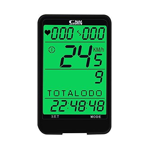 nellvita Multi Funktion wasserdicht Große LED-Bildschirm Wireless Fahrrad Tacho Herzfrequenz Monitor Fahrrad Cycling Computer mit Cadence Sensor Druck Höhe Climb Höhe etc. 43Funktion