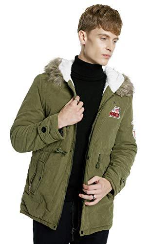 Romance zone uomo cappotto invernale, giubbotto imbottito giacca con cappuccio foderato pelliccia parka caldo manica lunga cappotto