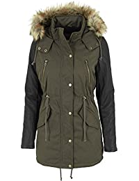 Urban Classics Jacke Leather Imitation Sleeve Parka-Chaqueta Mujer