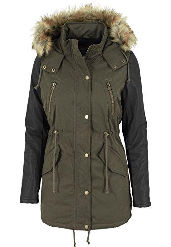 Urban Classics - Jacke Leather Imitation Sleeve Parka, Giacca Donna, Multicolore (Olv/Blk), X-Small (Taglia Produttore: X-Small)