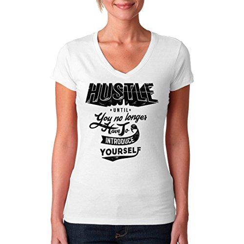 Fun Sprüche Girlie V-Neck Shirt - Motivation Shirt Hustle by Im-Shirt Weiß