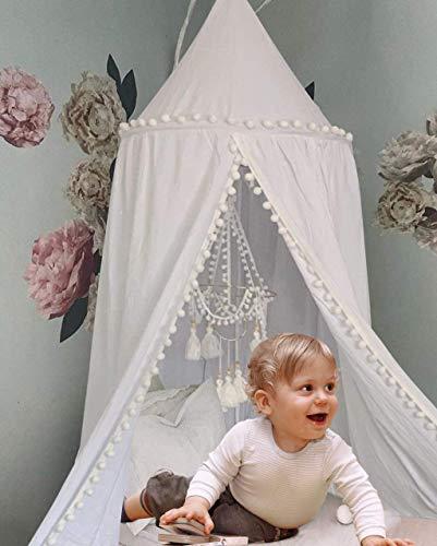Baldachin für Kinder, Baby-Bettwäsche, Runde Kuppel hängende Moskitonnetz, Kinder Spielzelt Baumwolle Moskitonetz, Raumdekoration für Kinder (Weiß)