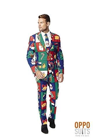 Opposuit Herren Anzug Weihnachtsmotive, Jacke Hose Krawatte Karneval Weihnachten (54) (Little Trees Kostüm)