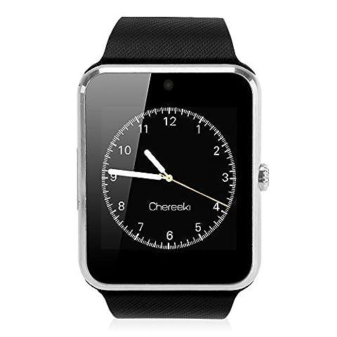 CHEREEKI Bluetooth Smart Watch avec appareil photo prend en charge SIM Card TF Card Wrist Phone Watch Écran tactile Smartwatch Pedometer Bracelet pour Android Smartphones
