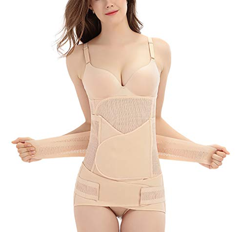 MTEUIE Postpartum Support Recovery Belly Belt Band-Wickelgurt 3 in 1, Shapewear Bauchmuskeltrainer Taillen-Trainer, Fast Recover von C-Sektion Chirurgie Nackt,Skincolor,L