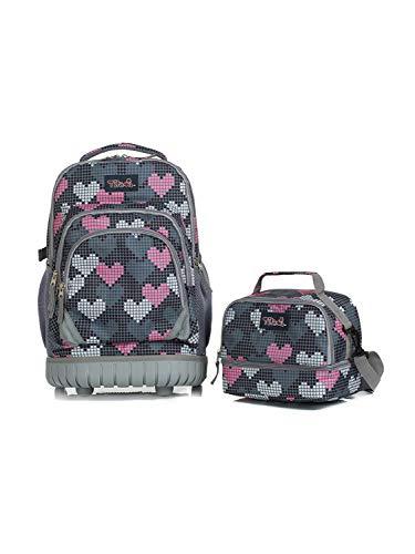 Schultrolley mit Lunchtasche für Mädchen,Tilami Schultrolley Schultaschen Schulrucksack mit Kühltasche Isoliertasche für Kinder Junge und Mädchens Klasse 3-12 Herzen