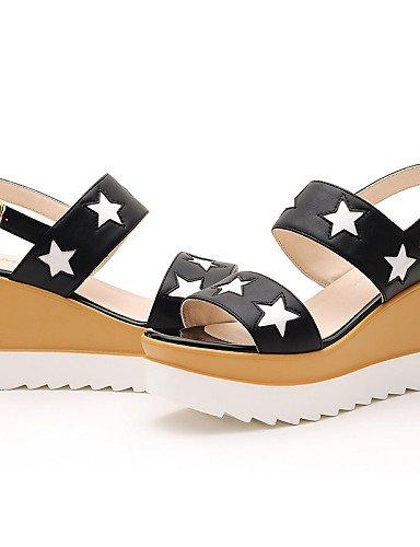 LFNLYX Chaussures Femme-Bureau & Travail / Habillé / Décontracté / Soirée & Evénement-Noir / Blanc-Plateforme-Bout Ouvert / Creepers-Sandales- Black