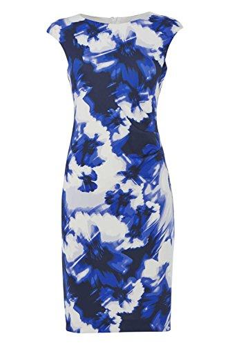 Roman Originals - Robe Imprimé à Fleurs Abstrait Confortable Droite Cérémonie - Femme Bleu