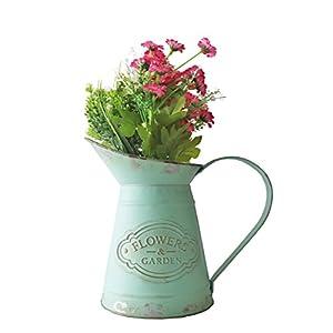 APSOONSELL Retro-Blume Eisen Topf Shabby Chic Metall Krug Vase Gießkanne Blumen Bucket Home Decor mit Griff, grün, Large