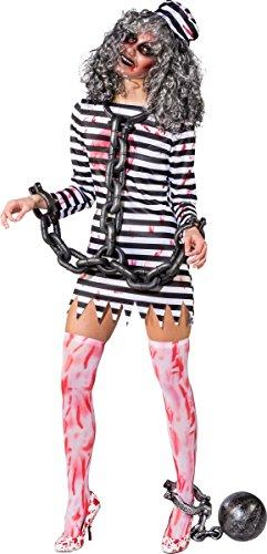 Orlob Damen Kostüm Zombie Sträfling Knastbraut Halloween Gr.S/M