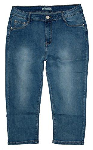 b.s Damen 3/4 Stretch Capri Jeans Hose, blue used (V116), Gr.42 W33