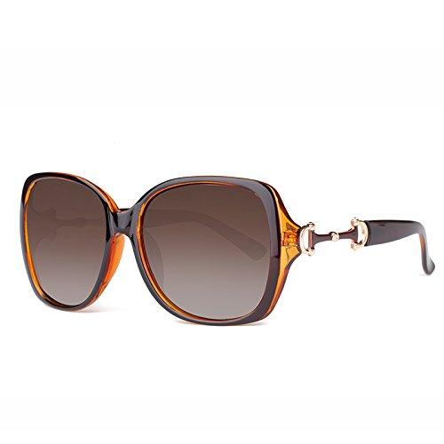 Sunyan die Sonnenbrille Mädchen in der eleganten, stilvollen Sonnenbrille die Augen Big Box retro gradient Gläser Tide, Kaffee-farbige Kästchen gradient Tee Off zu fahren