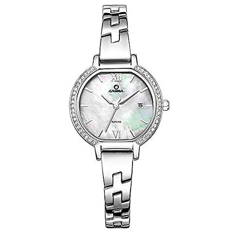Dame Quarz-Uhr-Stahlbügel-Leder-Bügel-Schatz-Wölbungs-Diamant-Kalender-wasserdichtes Gold Silber , 1