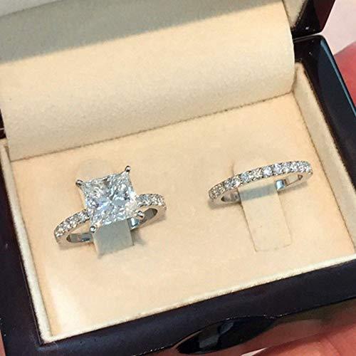 WYYDJZ Zirkon Stein Ring Set Mode Silber Verlobungsring Vintage Hochzeit Ringe Frauen Braut Sets