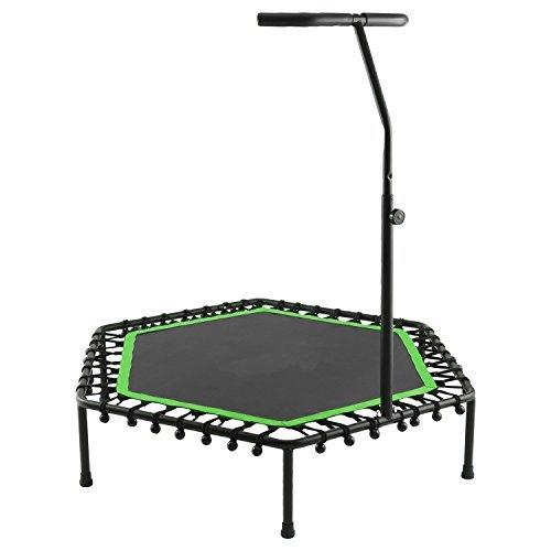 Tomasa Fitness Sport Trampolin 13 x 128 x 26cm Jumping Trampolin draußen gartentrampolin mit verstellbarem Lenker 115-145cm (Grün)