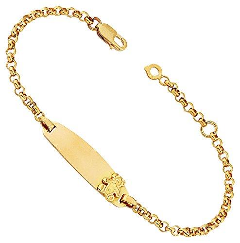 Orleo - REF8932BB : Bracelet identité Enfant Or 18K jaune - Ourson - Fabriqué en France