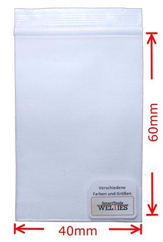 WeltiesSmartTools Druckverschlussbeutel 100 Stück Maße 40x60 mm 90µ transparent - Über 30 verschiedene Größen zur Auswahl
