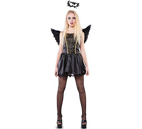 Imagen de disfraz de ángel negro y dorado negra para mujer