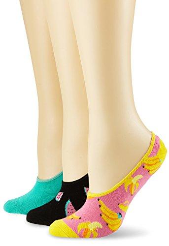 Happy Socks Limer, Calcetines Cortos para Mujer, Mehrfarbig (Koralle 3000), Talla única(Pack de 3) Happy Socks
