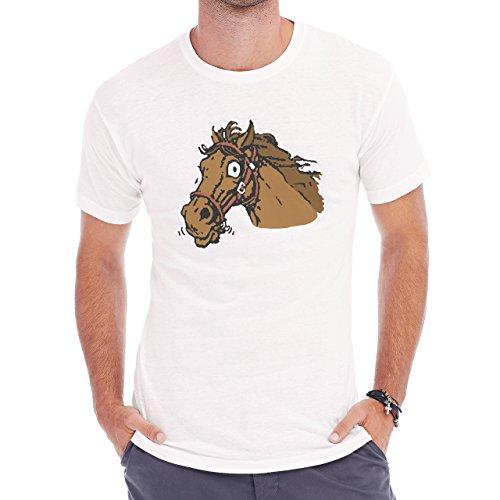 Horse Animal Pony Stud Crazy Head Herren T-Shirt Weiß