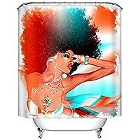 Cortina de la ducha XINGUANG 3D Impreso Cuarto De Baño Anillo 100% Poliéster Cortina De División (Mujer Caliente 180cm * 200cm) Cortina