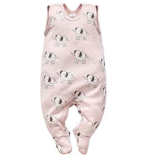 Unisex-strampelanzug (Pinokio - Wild Animal - Baby Mädchen&Jungen Strampler 100% Baumwolle, Blau und Rosa mit Tiere Tiger Elefant 0-12 Monaten -Strampelanzug/Schlafanzug ärmellos Gr. 56-687 (56 cm, Rosa))