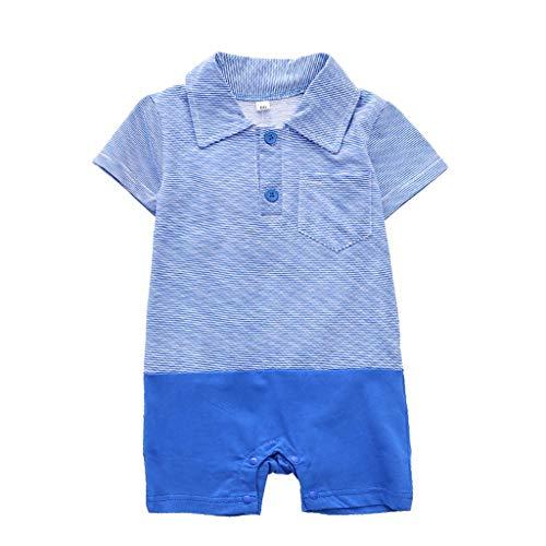 WUSIKY Säuglingsoverall Babykleidung Jungen Mädchen Pyjamas Kurzarm Gestreifter Druck Niedliche Baumwollspielanzug Weiche ()