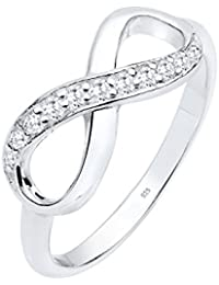 Elli Damen Ring mit Infinity Symbol Eye Catcher Glanzvoll mit Zirkonia Kristall in 925 Sterling Silber