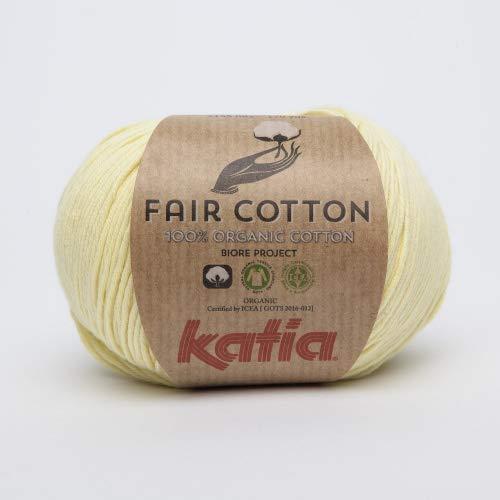 Katia fair cotton fb. 07vanilla, cotton yarn, organic cotton for knitting and crocheting.