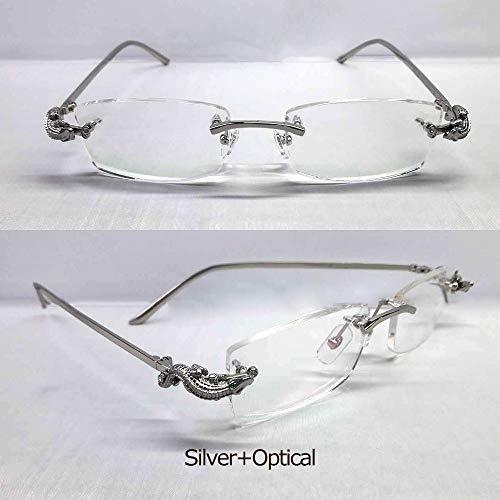 LKVNHP Luxury Crocodile Herren SonnenbrilleMarkendesignerBrille Frau Sonnenbrille Marke Randlose Optische RahmenFullsilver Optical