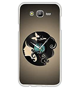 PrintVisa Pretty Girl Clock High Glossy Metal Designer Back Case Cover for Samsung Galaxy E5 :: Samsung Galaxy E5 Duos :: Samsung Galaxy E5 E500F E500H E500HQ E500M E500F/DS E500H/DS E500M/DS
