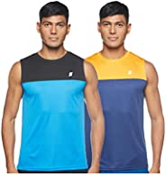 Amazon Brand - Symactive Men's Solid Regular Fit Sleeveless Sports T-S