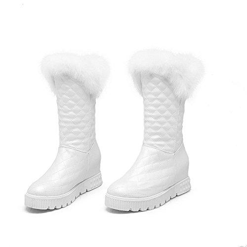 AllhqFashion Damen Rund Zehe Mittler Absatz Weiches Material Mitte-Spitze Rein Stiefel Weiß